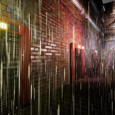 Neon Rain Alleyway